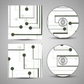 Vector cd cover set for your design circuit board illustration Stock Image