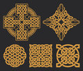 Vector celtic cross and knot set. Ethnic ornament. Geometric des
