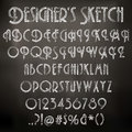 Vector chalk sketched font illustration of characters on a blackboard background Stock Photography