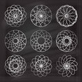 Vector chalk spirograph elements set. Royalty Free Stock Photo