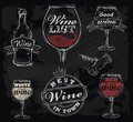 Vector chalk wine set on chalkboard background Royalty Free Stock Photo