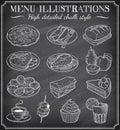 Vector Chalkboard Food Illustr...