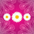 Vector chamomiles on pink ornate background seamless Stock Images