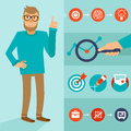 Vector character in flat style man with idea smart infographic elements Royalty Free Stock Photography