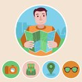 Vector character in flat style with map and travel icons Stock Images