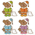 Vector character sleepy bear pajamas rabbit with a pillow and a soft toy in his hands set of different colors Stock Photos