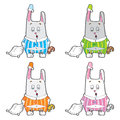Vector character sleepy bunny pajamas rabbit with a pillow and a soft toy in his hands set of different colors Royalty Free Stock Images