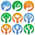 Vector charity signs and logos hands different symbols Royalty Free Stock Images