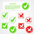 Vector check mark stickers and banner Stock Photo