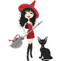 Vector cheerful beautiful girl dressed as a witch in pointy red hat red dress black boots with broom and black cat Royalty Free Stock Photos