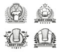 Vector chef hat labels template for restaurant menu design Royalty Free Stock Photo