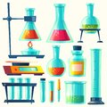 Vector chemical equipment for experiment. Chemistry laboratory. Flask, vial, test-tube, scales, retorts with substance.