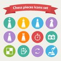 Vector Chess pieces white icons set Royalty Free Stock Photo