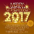 Vector chic light up Merry Christmas 2017 greeting car