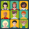Vector children avatars. Set of different nationality kids faces in flat style. Girls and boys portraits app icons.