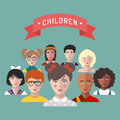 Vector children avatars.Set of different nationality kids faces in trendy flat style.Girls and boys portraits app icons.