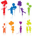 Kids children silhouettes with air balloons vector kid silhouette girl balloon party little young jumping playing people child Royalty Free Stock Photo