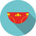 Vector children icon Red diaper with stars