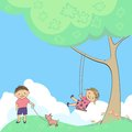 Vector children playing in nature swing at tree baby Stock Photography