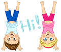 Vector children standing upside down. Friends. Cute kids illustration