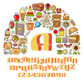 Vector childrens icon set - toys, sweets, alphabet.