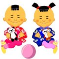 Vector Chinese baby boy and girl Royalty Free Stock Photo