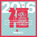 Vector chinese year of the monkey asian lunar year new greeting card background with paper cut hieroglyphs and seal means Royalty Free Stock Image