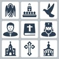 Vector christian religion icons set Royalty Free Stock Photography