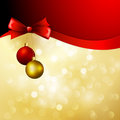 Vector christmas background with bow and balls ribbon Stock Image
