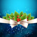 Vector christmas background with bow and holly ribbon Royalty Free Stock Photos