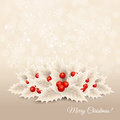 Vector christmas background with bow and holly ribbon Royalty Free Stock Image