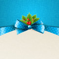 Vector christmas background with bow and holly ribbon Stock Photo