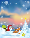 Vector christmas background with funny santa claus reindeer xmas tree and evening sky Royalty Free Stock Photo