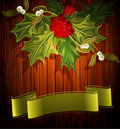 Vector christmas background with sprig of holly the Royalty Free Stock Photo