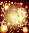 Vector christmas background with two glasses and c the balls Stock Photos