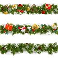 Vector Christmas Border Set with Garland Royalty Free Stock Photo