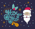 Vector Christmas card with Santa Claus. Santa says Ho ho ho. Royalty Free Stock Photo