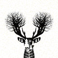 Vector christmas concept design of reindeer and pine tree forest