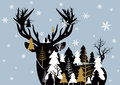 Vector christmas concept design of reindeer and pine tree