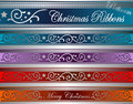 Vector christmas deco ribbons platinum Stock Image