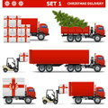 Vector christmas delivery set on white background Stock Image