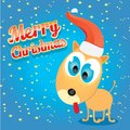Vector christmas dog in christmas santa red hat this is file of eps format Royalty Free Stock Photo