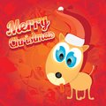 Vector christmas dog in christmas santa red hat this is file of eps format Royalty Free Stock Image