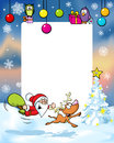Vector christmas frame with funny santa claus and reindeer xmas ball gift Stock Photo
