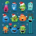 Vector christmas freaky hipster monsters set funny illustration Stock Photo