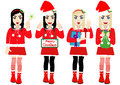 Vector Christmas Girl wearing Santa Suit Royalty Free Stock Photography