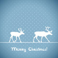 Vector christmas greeting card blue with deers Royalty Free Stock Photos