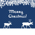 Vector christmas greeting card blue with deers and snowflakes Royalty Free Stock Images