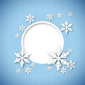 Vector christmas greeting card blue with place for text and snowflakes Stock Images