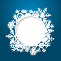 Vector christmas greeting card blue with round place for text end snowflakes Royalty Free Stock Photo